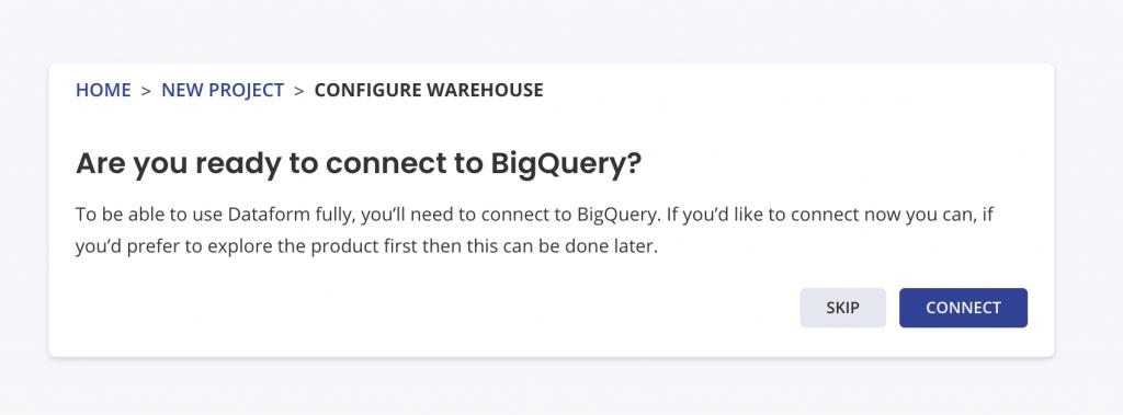 dataform,bigquery接続